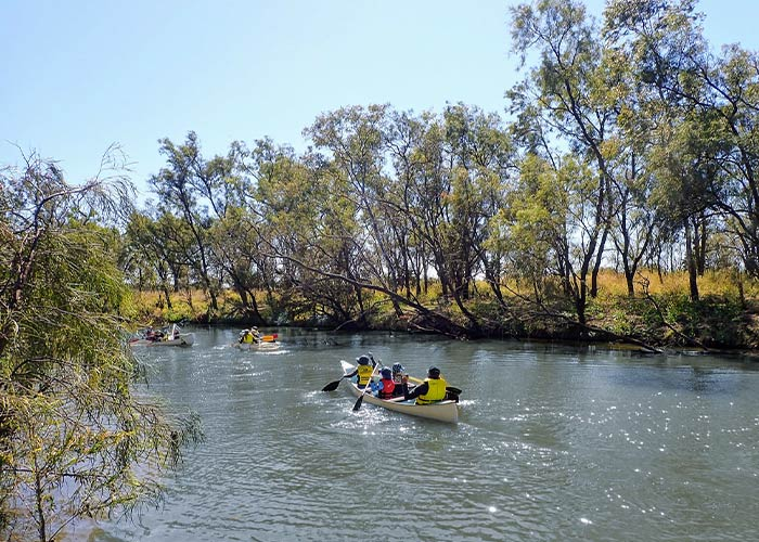 Sub scouts canoeing on the river